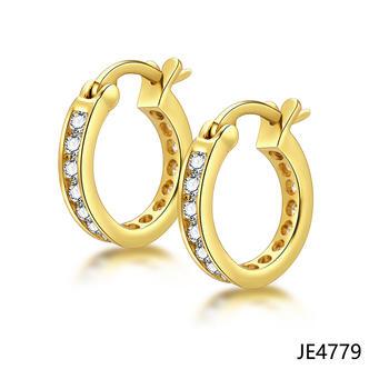 Jasen Jewelry Fashion Design Gold Plated Hoop Earrings