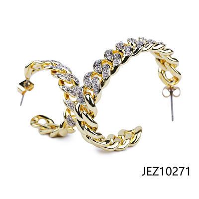 Jasen Jewelry Fashion Earrings Cuban Chain Design Hoop Earrings
