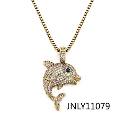 Jasen Jewelry 925 Silver Necklace Cute Dolphin Shape Pendant
