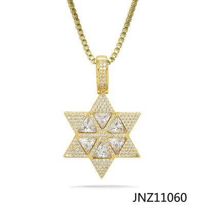 Jasen Jewelry Gold Pendant Hexagram Six-Pointed Star Pendant Necklace