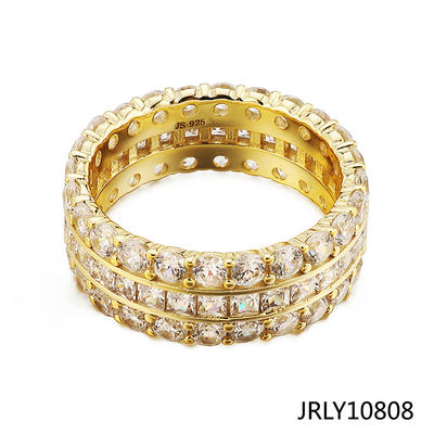 Jasen Jewelry Iced Out Bling Bling Mens Gold Ring