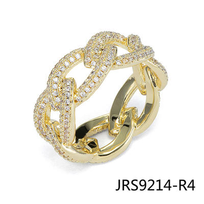 Jasen Jewelry 14K Gold Plating Mens Hiphop Chains Ring
