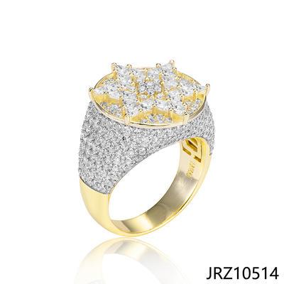 Jasen Jewelry Micro Pave Zirconia Hexagram Design Mens Ring
