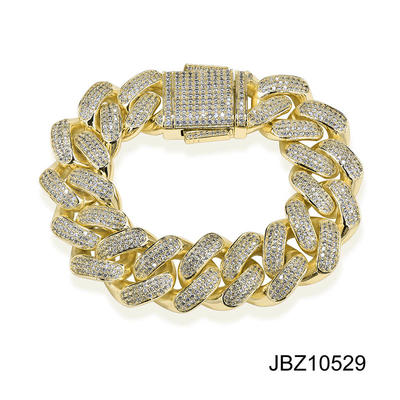 Jasen Jewelry Gold Plating Cuban Miami Chain Bracelet