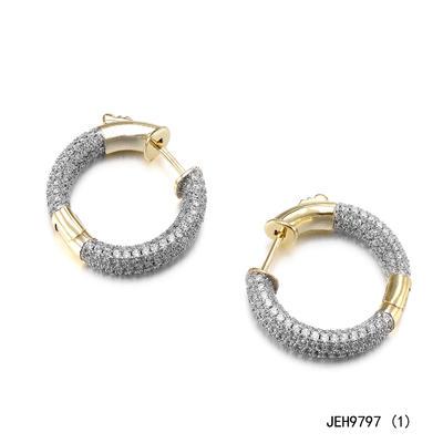 JASEN JEWELRY 14K gold micro pave hoop earrings