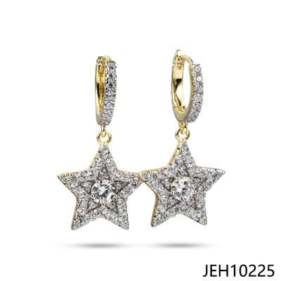 JASEN JEWELRY 14K GOLD HOOP EARRINGS FIVE STARS