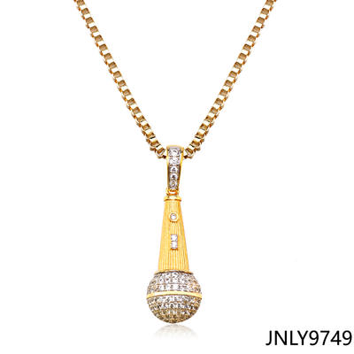 JASEN JEWELRY Microphone shape jewelry pendant gold plated necklace
