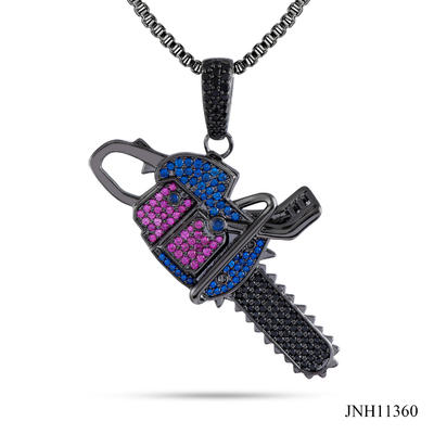 JASEN JEWELRY saw design colorful stone CZ iced out jewelry pendant